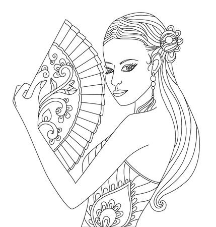 pretty chinese girl with fan. coloring page