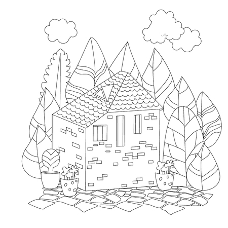 House with decorative trees for your coloring book Stock Illustratie