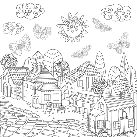Cityscape for your coloring book Stock Illustratie