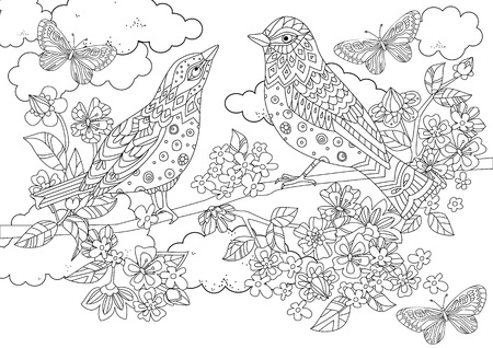 A couple of birds on branch of blossom tree for your coloring book