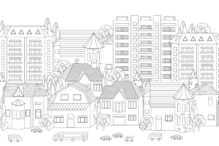 Modern cityscape for your coloring book Stock Illustratie