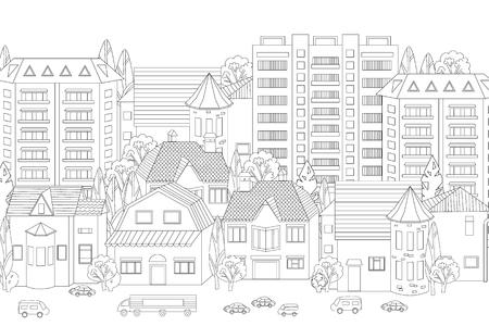 Modernes Stadtbild für dein Malbuch Vektorgrafik