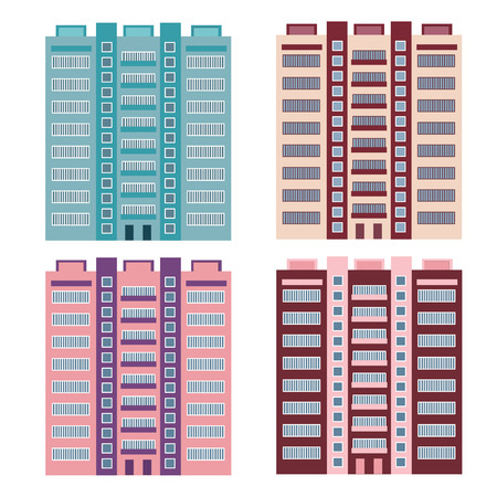 Collection of high-rise houses for your design Vector Illustratie