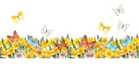 Bordure transparente de pissenlits et de papillons volants. peinture à l'aquarelle