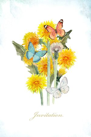 Invitation card with dandelions and butterflies.