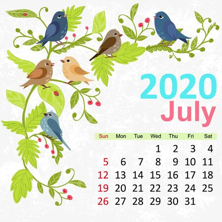 template with pretty birds. Calendar for 2020, july