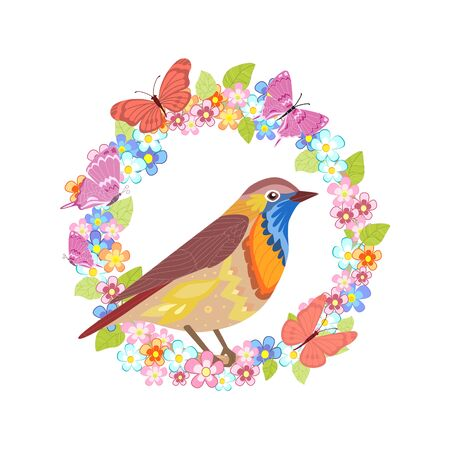 Little bird in floral wreath for your design