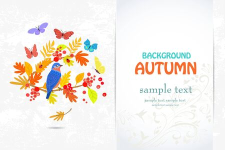 Elegant invitation card with bird on branch autumn tree for your design