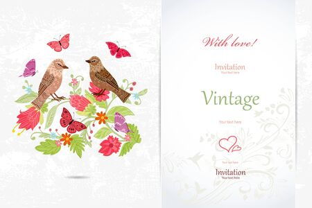 Elegant invitation card with couple of birds in flowers for your design