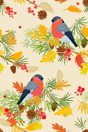 seamless texture with cute bullfinches in autumn forest for your design