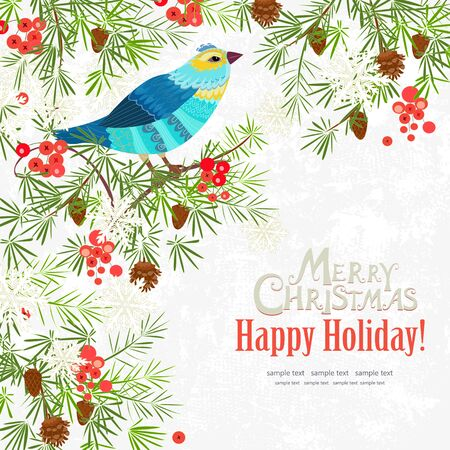winter invitation card with fancy bird. Merry christmas