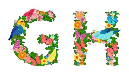 fancy collection of colorful letters G, H with butterflies and birds for your design 矢量图像