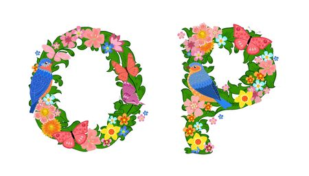 fancy collection of colorful letters O, P with butterflies and birds for your design Vetores
