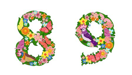fancy collection of colorful numbers 8, 9 with butterflies and birds for your design
