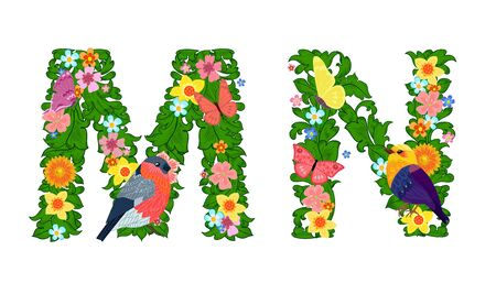 fancy collection of colorful letters M, N with butterflies and birds for your design