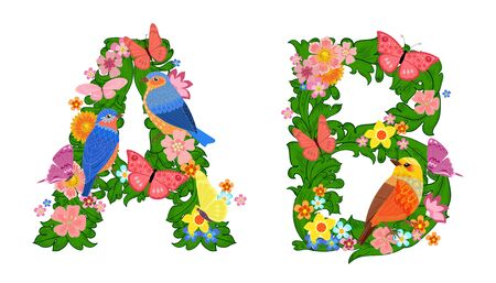 fancy collection of colorful letters A, B with butterflies and birds for your design