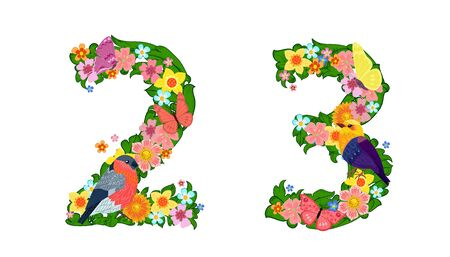 fancy collection of colorful numbers 2, 3 with butterflies and birds for your design  イラスト・ベクター素材