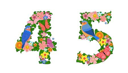 fancy collection of colorful numbers 4, 5 with butterflies and birds for your design