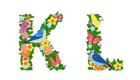 fancy collection of colorful letters K, L with butterflies and birds for your design  イラスト・ベクター素材