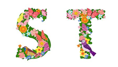 fancy collection of colorful letters S, T with butterflies and birds for your design