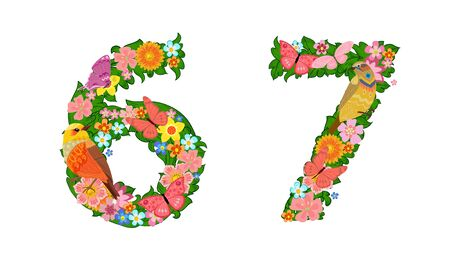 fancy collection of colorful numbers 6, 7 with butterflies and birds for your design