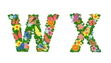 fancy collection of colorful letters W, X with butterflies and birds for your design
