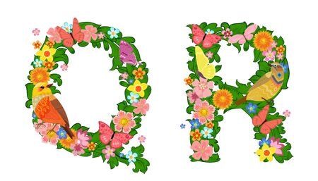 fancy collection of colorful letters Q, R with butterflies and birds for your design  イラスト・ベクター素材