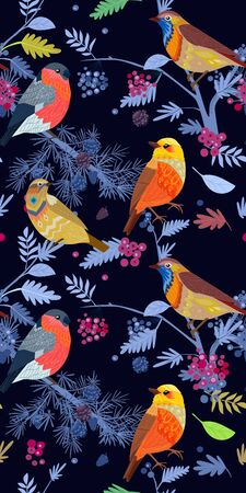 Night fabulous seamless banner with cute birds on branches of trees for your design