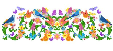 isolated vintage floral border with butterflies, birds for your design