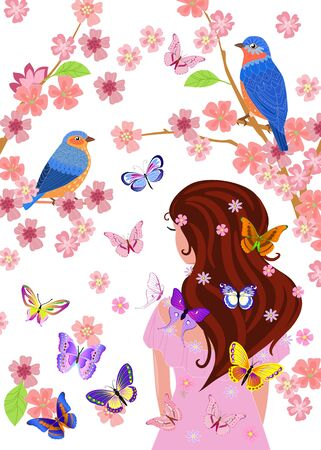 Romantic girl is standing with her back and looking into blossom cherry garden with birds.