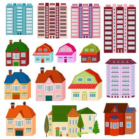 Colección de coloridas casas dulces para su diseño. Ilustración de vector