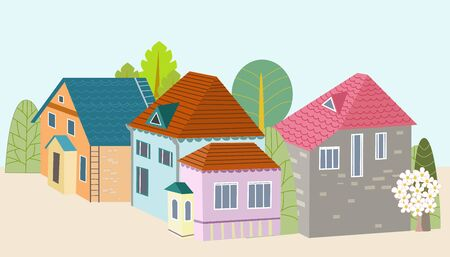 cute houses surrounded by trees for your design