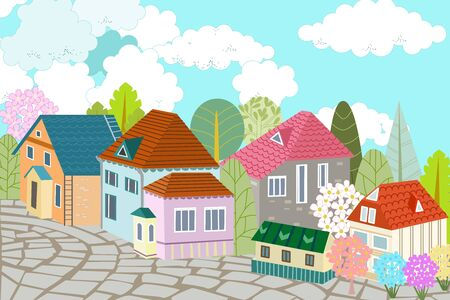Cute cityscape with paved cobblestone street for your design