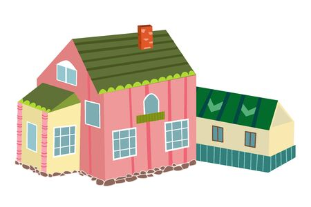 cute pink house with extension for your design Stock Illustratie