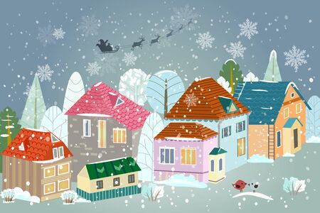 cute cityscape in winter with silhouette of Santa Claus flying in his sleigh in the night sky Vektoros illusztráció