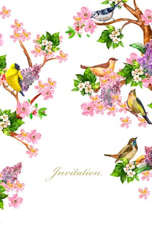 invitation card with sitting colorful birds on flowering branches. watercolor painting Archivio Fotografico - 138195550