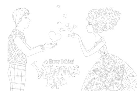 romantic card with young woman and man in profile sending air hearts to each other for your coloring page 向量圖像