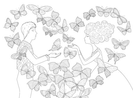 Side view of lovely couple and flying butterflies around in shape heart for your coloring page