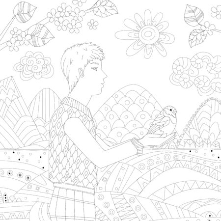 profile of young man standing outdoors in summer and holding a bird against sunny mountain landscape for your coloring page Illustration