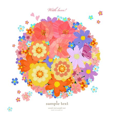stylized meadow flowers in the shape of circle on white background. flying little flowering and hearts. lovely poppies, daisies different colors. romantic card template for your design Standard-Bild - 139676129