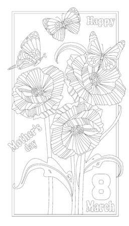 vertical abstract frame with bouquet of poppies, leaves, flying butterflies. happy Mothers day. cute outline drawing of flowers for your coloring book