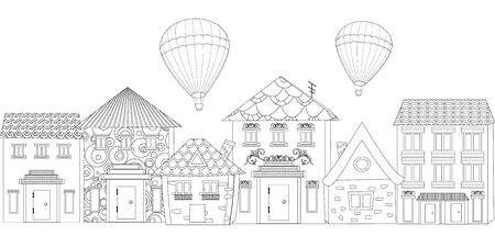 Row of cute houses with hot air balloons in the sky. outline drawing of cityscape for your coloring book Ilustracja