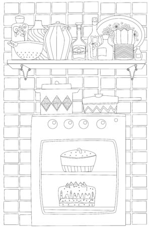 cozy homey kitchen with cake in stove and wall shelf of tableware on tile pattern background for your coloring page