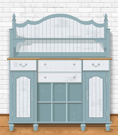Empty ornate vintage cupboard against white brick wall for your design
