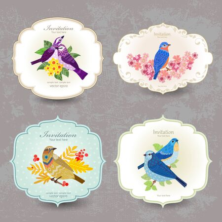 Romantic vintage labels with cute birds and flowers for your design