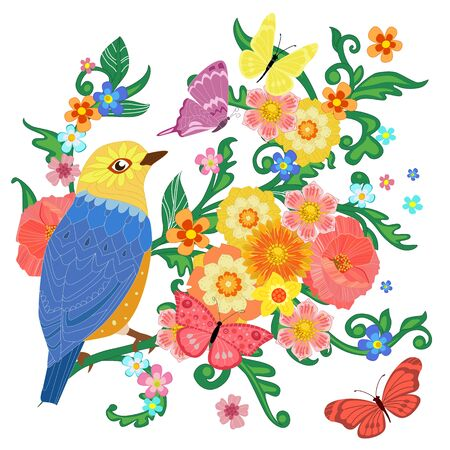 colorful invitation card with happy bird sitting on flowering branches surrounded by flying butterflies. romantic swirl floral pattern for your design