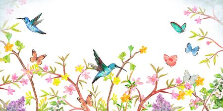 banner with stylized spring blooming bushes. border with flying birds and butterflies for your design. watercolor painting Imagens