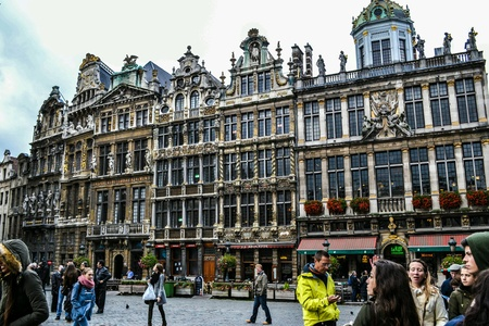 belgique: Historical square with old architecture in the Brussels, Belgium, Belgique, Europe  Stock Photo