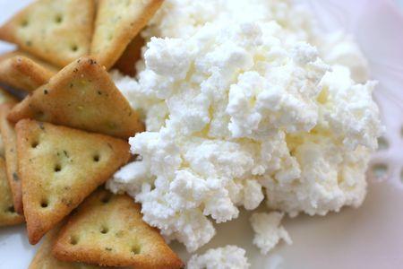 カッテージ チーズとクラッカー 写真素材