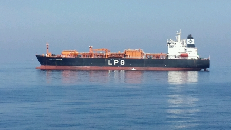 LPG vessel near Fujairah coast UAE Stock Photo - 23812758